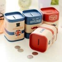 Металлическая маленькая копилка-банка для денег в английском стиле