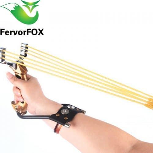 Металлическая мощная рогатка с креплением на руку