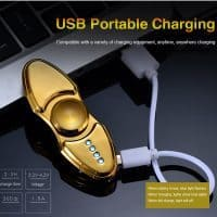 Металлический заряжаемый светящийся USB спиннер hand fidget spinner с встроенной зажигалкой/прикуривателем
