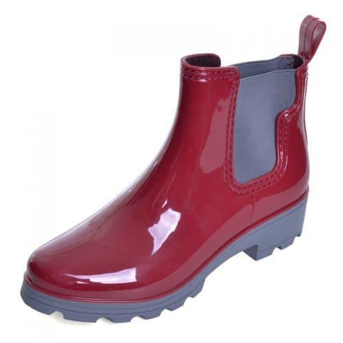 Модные женские короткие резиновые сапоги-ботинки челси на платформе