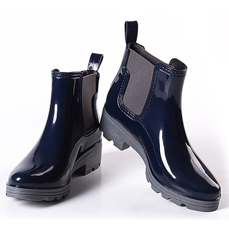 0575e6448 ... Модные женские короткие резиновые сапоги-ботинки челси на платформе
