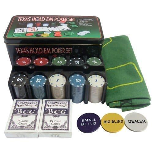 Набор для игры в покер (200 фишек, 2 колоды карт, скатерть, 3 фишки Dealer и Blind, коробка)