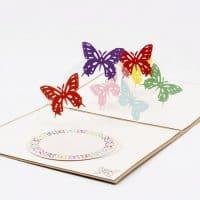 Объемная поздравительная 3D открытка с бабочками внутри