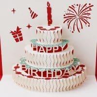 Объемная поздравительная 3D открытка с днем рождения с тортом внутри (Happy Birthday)