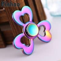 Радужный металлический спиннер hand fidget spinner пальчиковая игрушка-антистресс на подшипнике для рук с сердцами