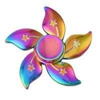 Радужный металлический спиннер hand fidget spinner пальчиковая игрушка-антистресс на подшипнике для рук в виде цветка
