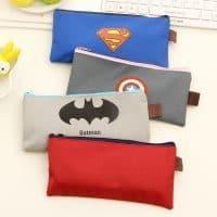 Школьный супергеройский (Капитан Америка, Супермен, Бэтмен) тканевый пенал на молнии для карандашей, кистей, ручек, фломастеров