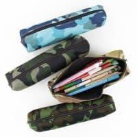 Школьный тканевый камуфляжный пенал на молнии для карандашей, кистей, ручек, фломастеров
