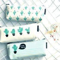 Школьный тканевый пенал-косметичка на молнии с кактусами для карандашей, кистей, ручек, фломастеров