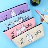 Школьный тканевый пенал на молнии с надписью We Bad и изображением кота для карандашей, кистей, ручек, фломастеров