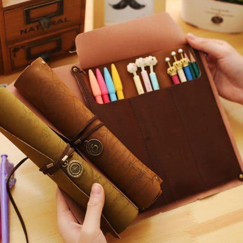 Школьный винтажный пенал-свиток из искусственной кожи для карандашей, кистей, ручек, фломастеров