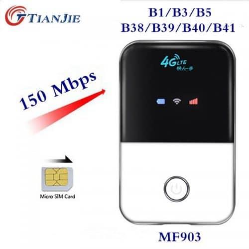 Tianjie карманная точка доступа (4G LTE беспроводной мини Wi-Fi роутер с micro SIM картой)