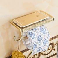 Винтажный резной настенный металлический держатель туалетной бумаги с полочкой для телефона