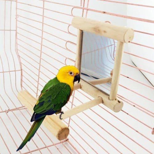Зеркало с жердочкой в клетку для попугая