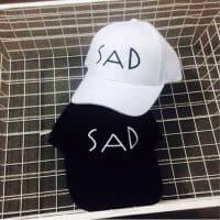 Женская и мужская черная и белая кепка-бейсболка с надписью SAD