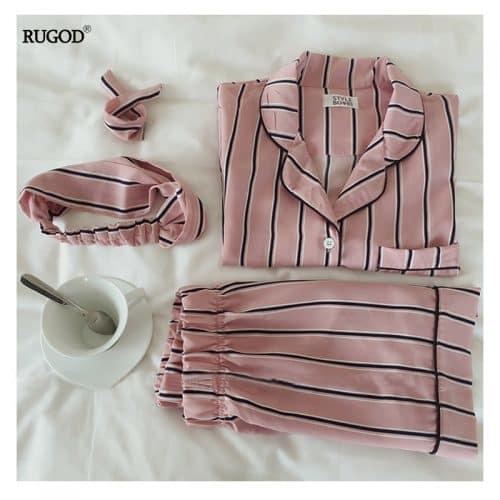 Женская шелковая пижама в полоску (рубашка + шорты + повязка на голову)