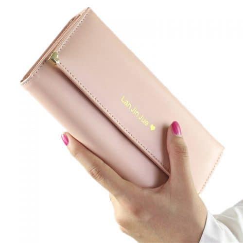 Женский длинный большой кошелек бумажник из искусственной кожи для монет и купюр (длина 19 см)