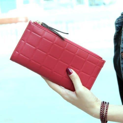 Женский длинный большой кошелек бумажник клатч из искусственной кожи с квадратным тиснением для монет, купюр, телефона (длина 19 см)