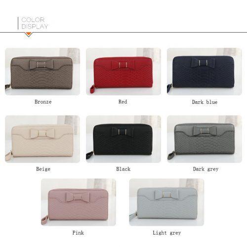 Женский длинный большой кошелек бумажник клатч на молнии с бантом из искусственной кожи для монет, купюр и карт (длина 20 см)