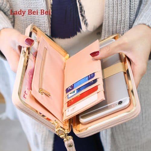 Женский длинный большой кошелек бумажник клатч с бантом из искусственной кожи для монет, купюр, карт и телефона (длина 18 см)
