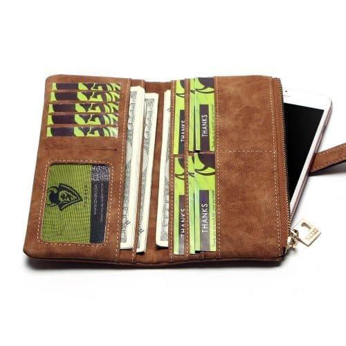 Женский длинный большой кошелек бумажник визитница из искусственной матовой кожи-нубука для монет, купюр и карт (длина 18 см)