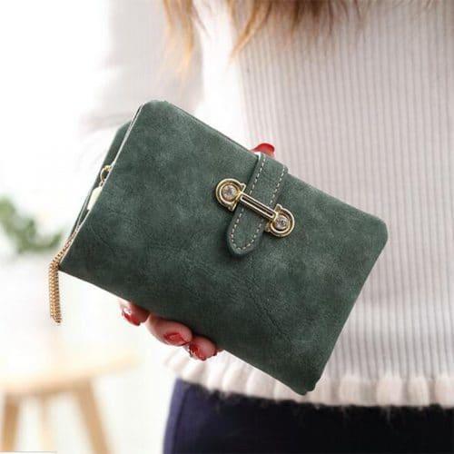 Женский длинный и маленький кошелек бумажник из искусственной матовой замши для монет и купюр с кисточкой на молнии