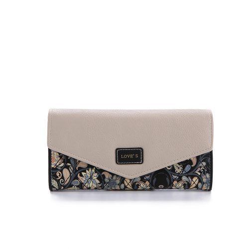 Женский длинный кошелек бумажник из искусственной кожи для монет и купюр с цветочным рисунком (длина 19 см)