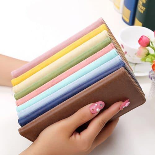 Женский длинный кошелек визитница из искусственной кожи на кнопке для карт, купюр (длина 19 см)