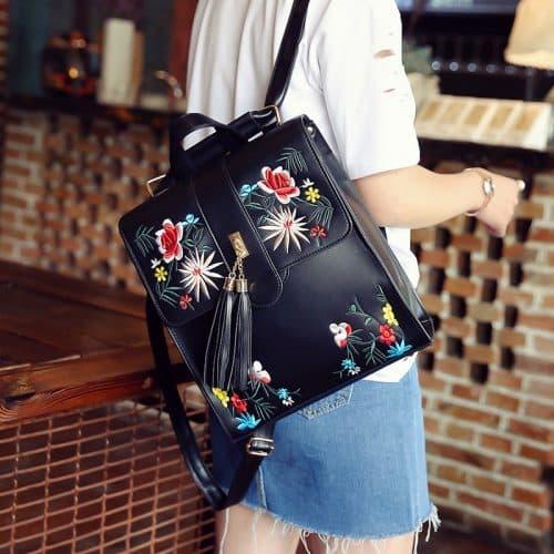 Женский квадратный рюкзак из искусственной кожи с вышивкой