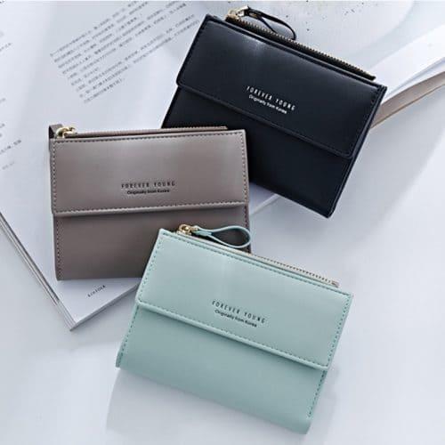 Женский маленький кошелек бумажник из искусственной кожи для карт, купюр и монет (длина 12,5 см)