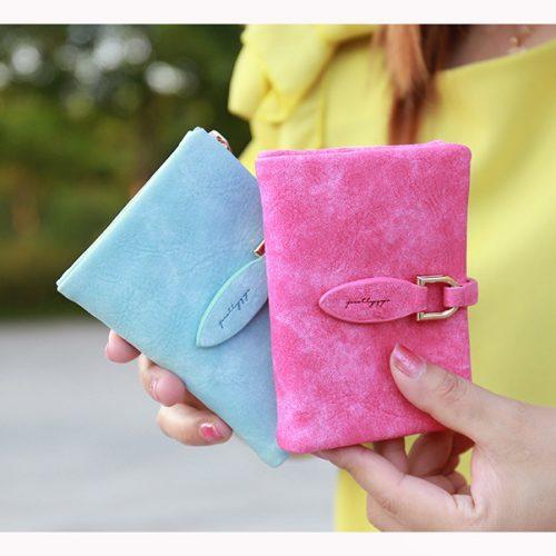 Женский маленький кошелек бумажник из искусственной кожи под нубук (длина 12 см)