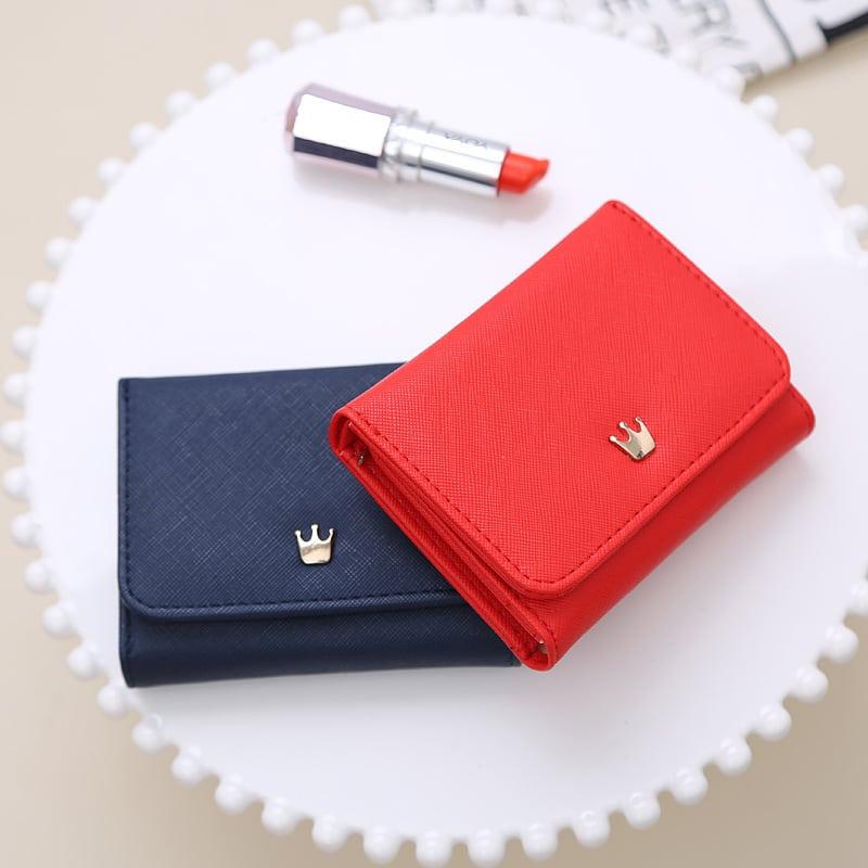40258a4a16ee Женский маленький кошелек бумажник из искусственной кожи с кнопкой в виде  короны (длина 10 см