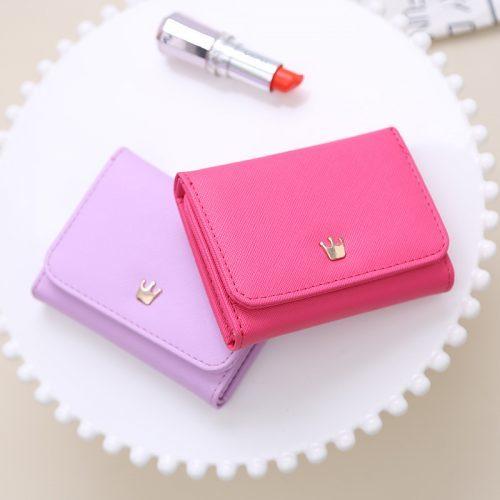Женский маленький кошелек бумажник из искусственной кожи с кнопкой в виде короны (длина 10 см)