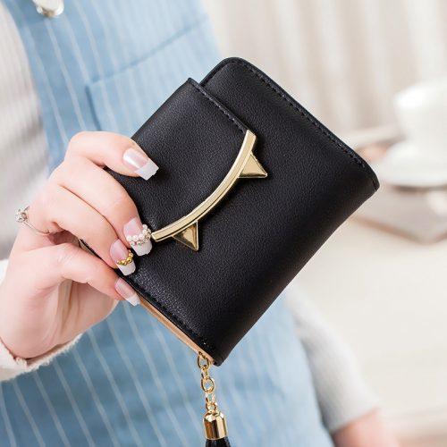 Женский маленький кошелек бумажник из искусственной кожи с кнопкой в виде ушек кота и кисточкой на молнии (длина 9 см)