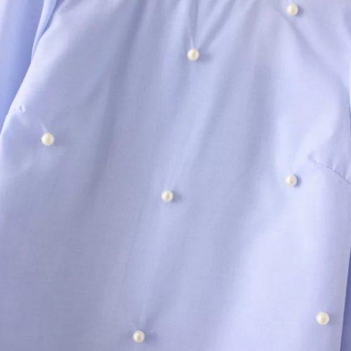 Голубая хлопковая блузка с рукавами клеш 3/4 и бусинами (реплика Зара/Zara)
