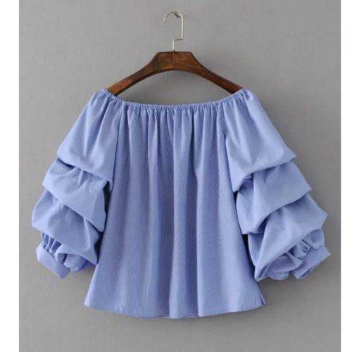 Синяя блузка в полоску со спущенными плечами и рукавами в складку (реплика Зара/Zara)