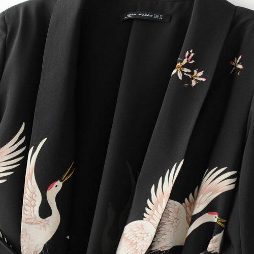 Черный жакет кимоно с поясом и изображением птиц (реплика Зара/Zara)