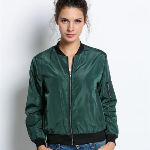 Женская демисезонная куртка-бомбер на молнии без капюшона (черный, зеленый, бордовый)