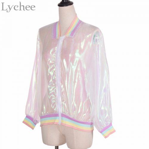 Женская голографическая прозрачная куртка-бомбер на молнии без капюшона с радужными резинками