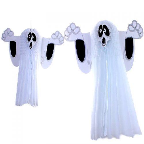 Декоративное украшение дома Бумажный белый призрак-привидение на Хэллоуин