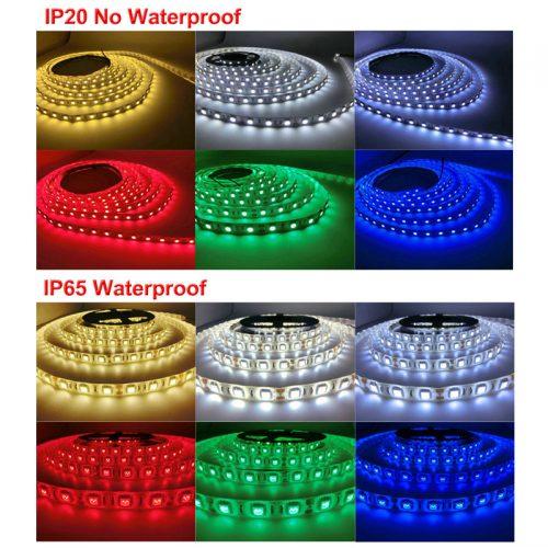 Светодиодная лента 5 м гибкая водонепроницаемая/не водонепроницаемая разного цвета для украшения освещения дома