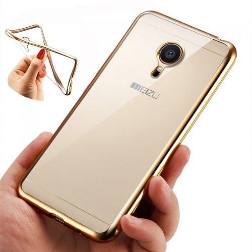 Силиконовый прозрачный чехол-бампер с золотой, серебристой и розовой рамкой для Meizu M5 Note, M5, M5S, MX6, MX5, Pro5, M3S Mini, M2 Note, M3 Note,M3S or M3, Pro 7, Pro 7 Plus, M6 Note