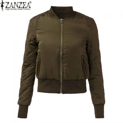 Женская демисезонная осенняя куртка-бомбер на молнии без капюшона