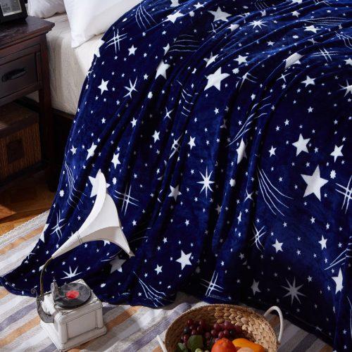 Флисовое синее покрывало-плед со звездами 120×200/180×200/200×230/150X200 см