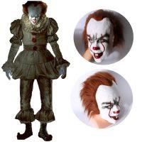 Латексная страшная маска клоуна убийцы Пеннивайза на голову из фильма Оно на Хэллоуин