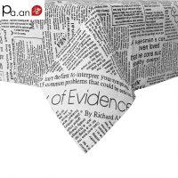 Настольная черно-белая скатерть с надписями под газету (разные размеры)