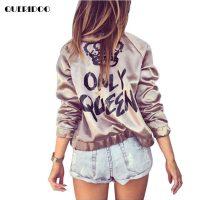 Женская куртка-бомбер золотого цвета на молнии без капюшона с надписью Only Queen на спине