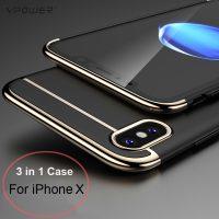 Ультратонкий жесткий чехол бампер задняя крышка 3 в 1 для iPhone (айфон) X