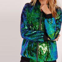 Женская блестящая куртка-бомбер с пайетками на молнии без капюшона