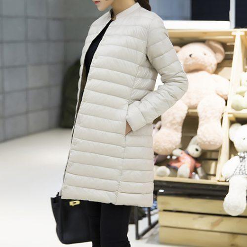 Женская демисезонная осенняя длинная утепленная куртка-пальто-пуховик на кнопках без капюшона
